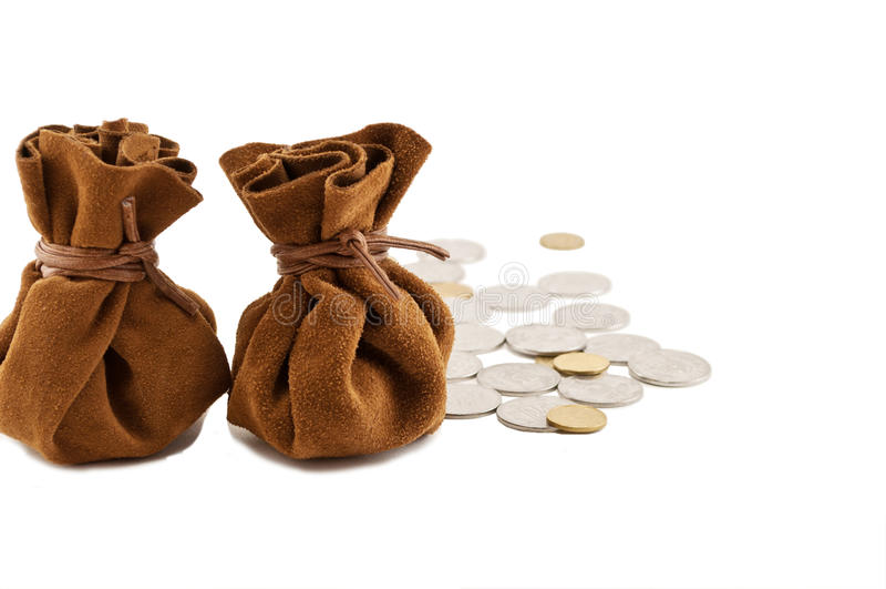 Vintage bags money stock photos