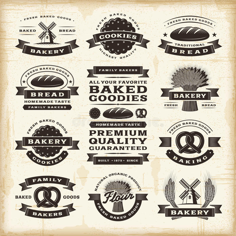 Free Vintage Bakery Labels Set Stock Photo - 30680780