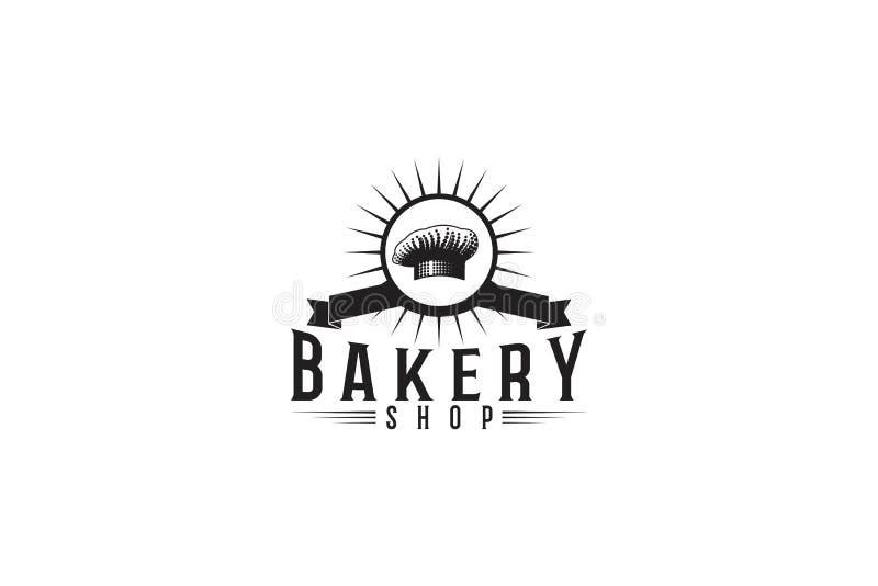 Vintage Bakery Logo. Chef hat. Ribbon badges. Vector illustration isolated on white background stock illustration