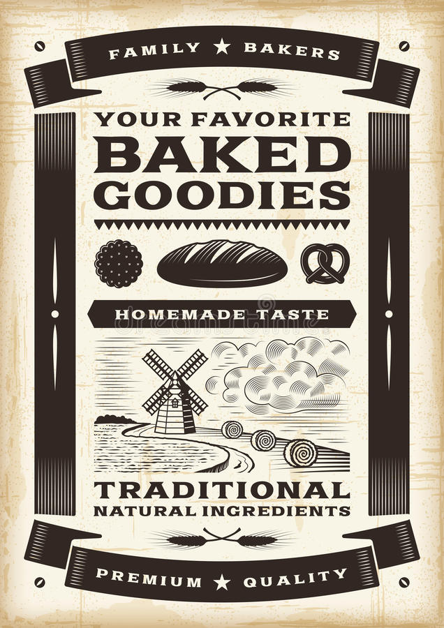 Vintage bakery poster. In woodcut style. Editable EPS10 vector illustration