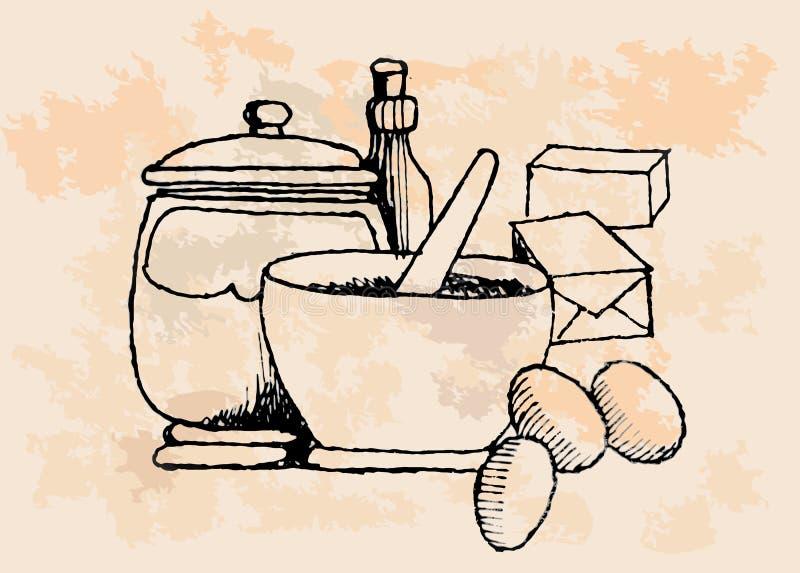 Download Vintage Baking Supplies stock vector. Image of flour - 32499776