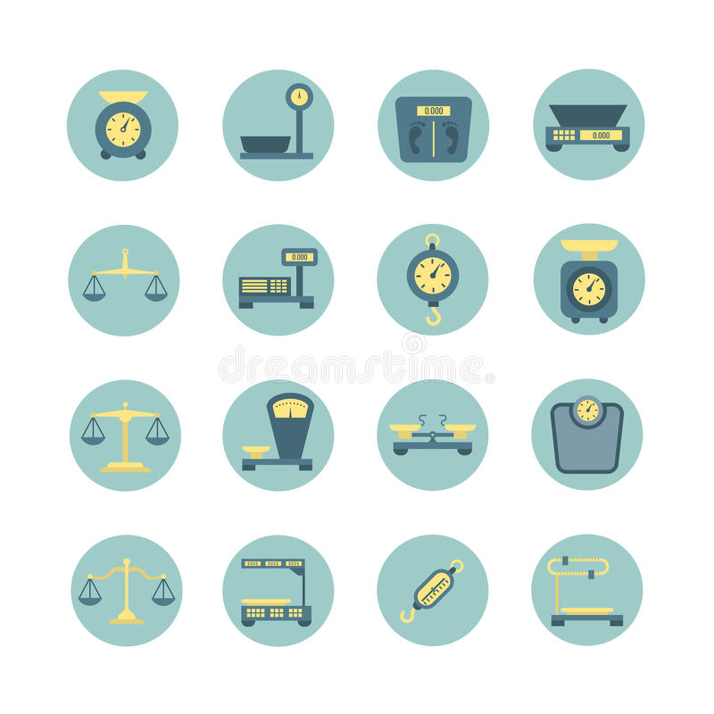 Vintage balance, electronic and mechanical scales, weight measurement flat vector icons vector illustration