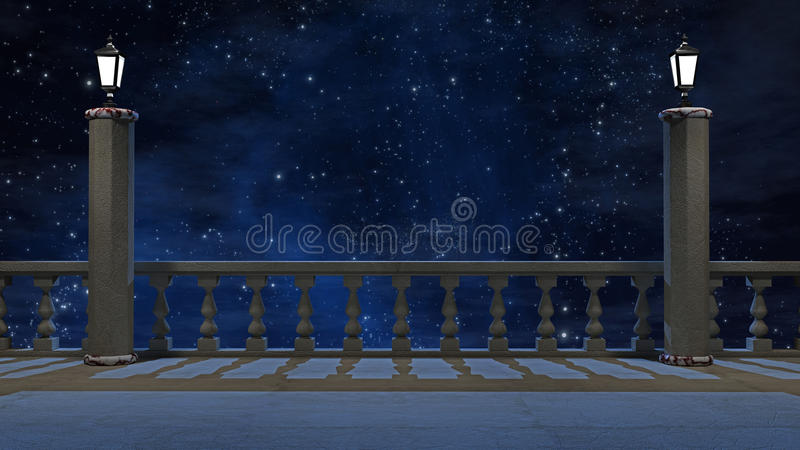 Vintage balcony with view of beautiful night sky. 3 d render vector illustration