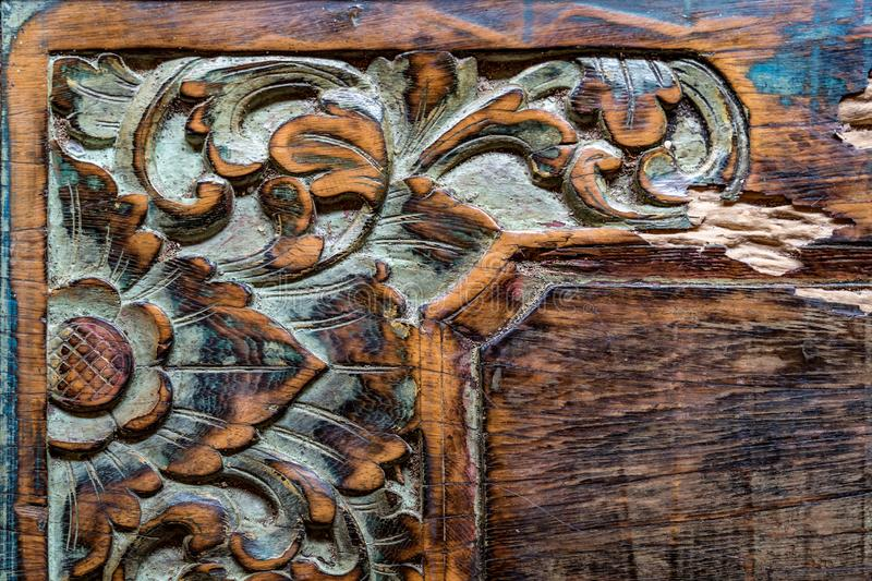 Vintage Balinese traditional wooden carving ornament background.  royalty free stock photos