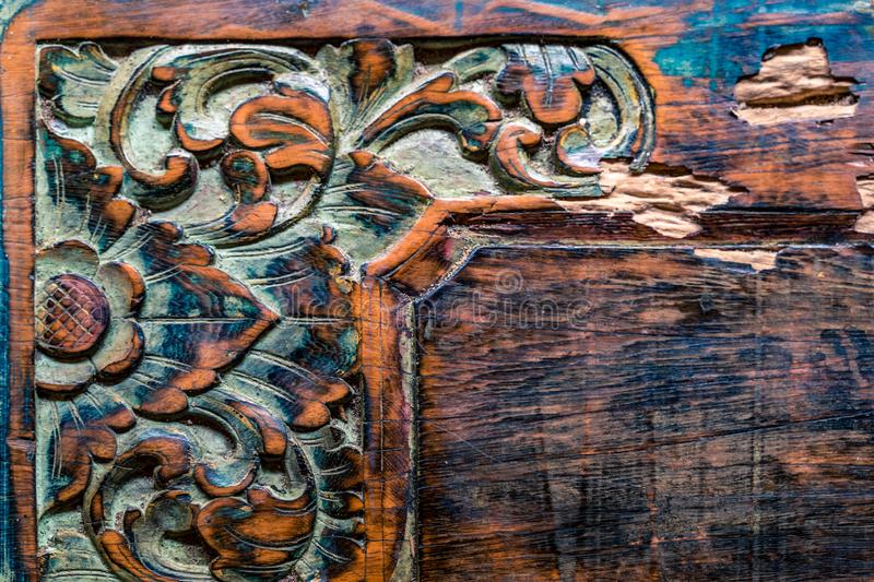Vintage Balinese traditional wooden carving ornament background.  stock photography