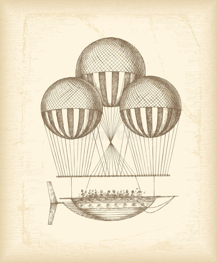 Vintage balloon sketch. On old paper