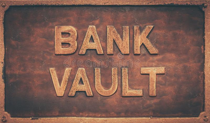 Vintage Bank Vault Sign. Grungy Old Retro Sign For A Bank Vault royalty free stock images