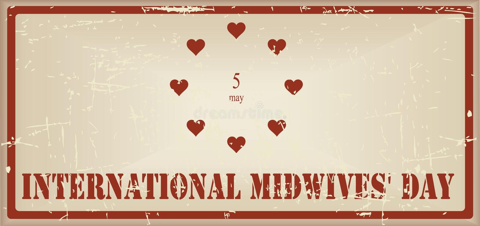 Vintage banner International Midwives Day vector illustration