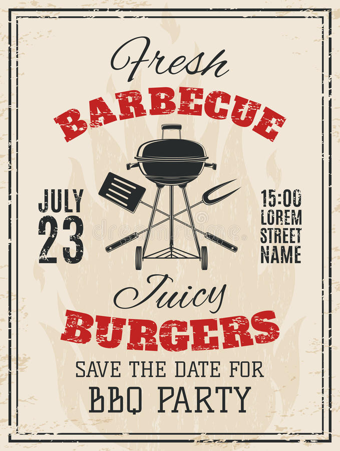 Vintage barbecue party invitation stock illustration