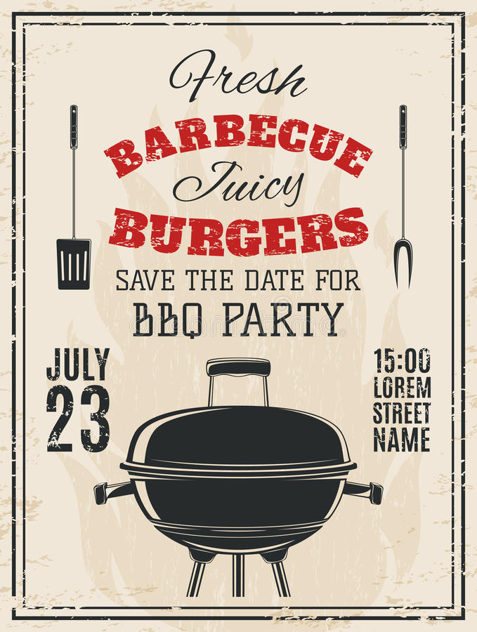 Vintage barbecue party invitation royalty free illustration