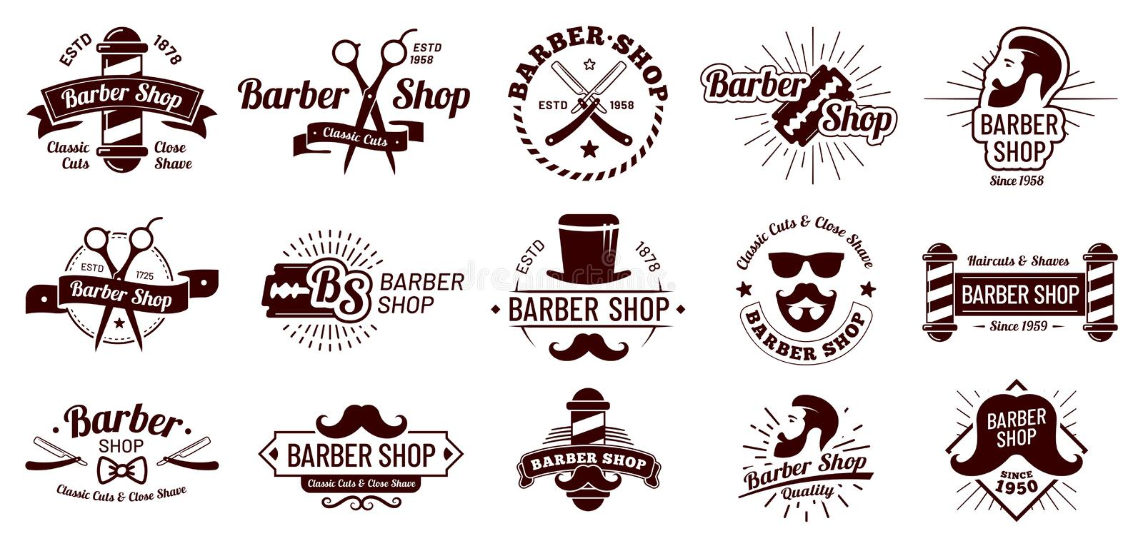 Vintage barber badges. Gentleman haircut styling, barbershop razor and shave salon. Mans hair haircuts badge vector. Vintage barber badges. Gentleman haircut vector illustration