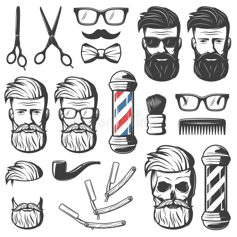 Vintage Barber Elements Set libre illustration