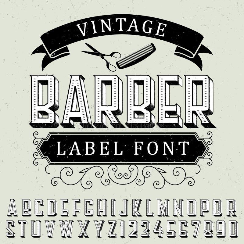 Vintage Barber Label Font Poster ilustração stock
