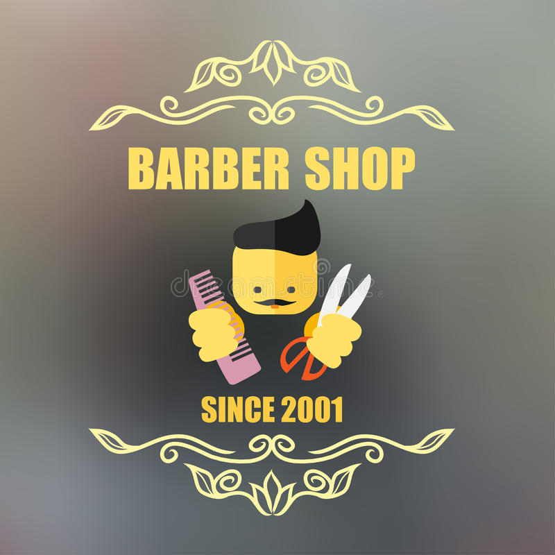 Vintage barber shop badge vector illustration