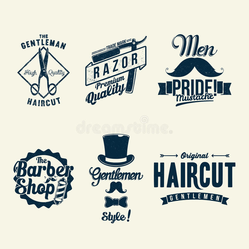 Vintage Barber Shop. 6 badges for logo. Available in high-resolution and several sizes to fit the needs of your project stock illustration