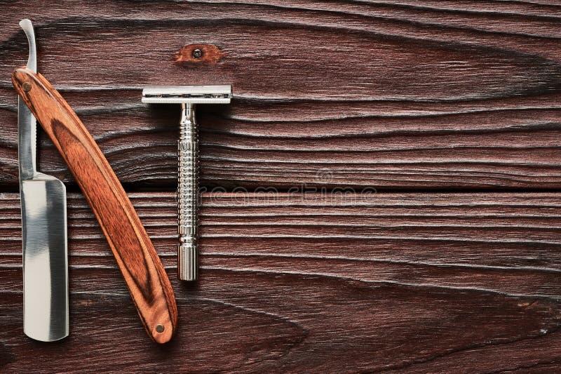 Vintage Barber Shop Razor Tools On Wooden Background Stock