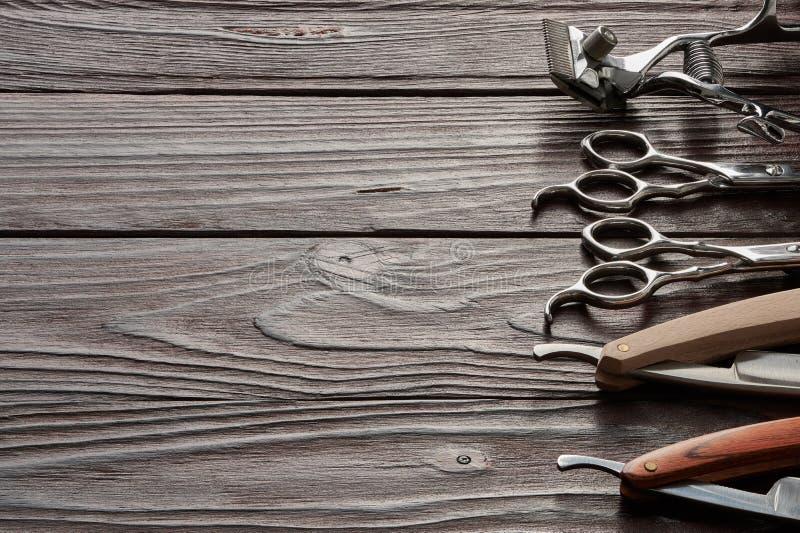Vintage Barber Shop Tools On Wooden Background Stock Photo
