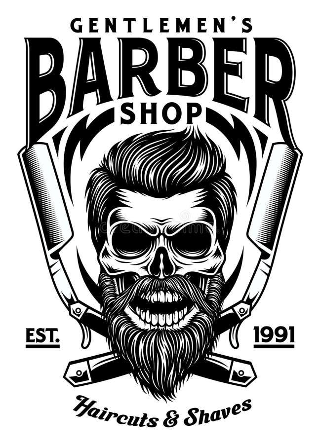 Vintage Barber Skull With Crossed Razors barbuda libre illustration