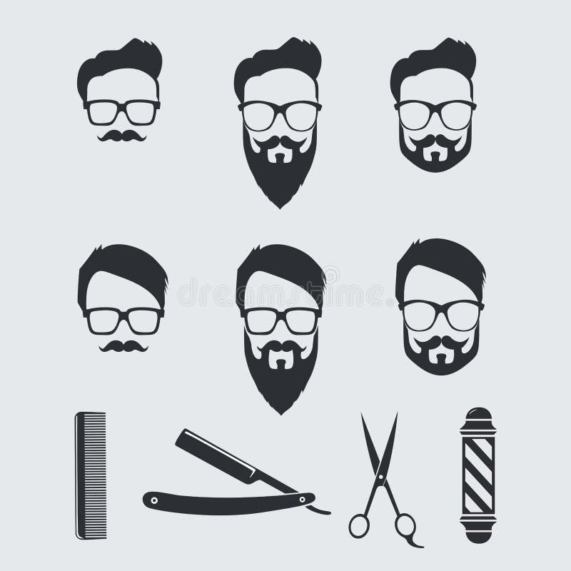 Vintage Barber Tools y elementos Dibujo del ejemplo del vector ilustración del vector