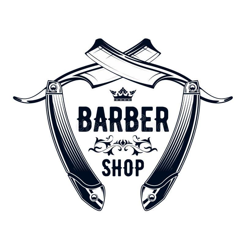 Vintage Barbershop embleem - recht razor, logo van barber shop vector illustratie