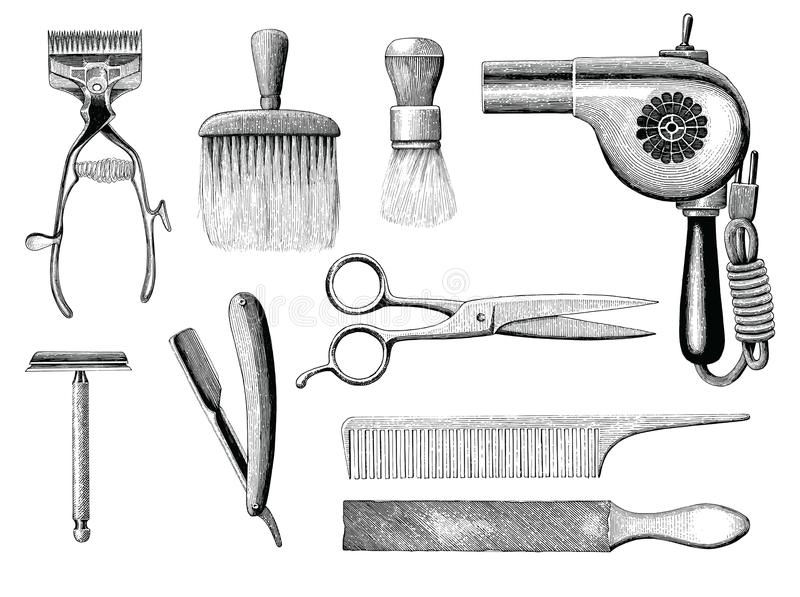Vintage barbershop tools hand drawing engraving style. Isolated on white background stock illustration