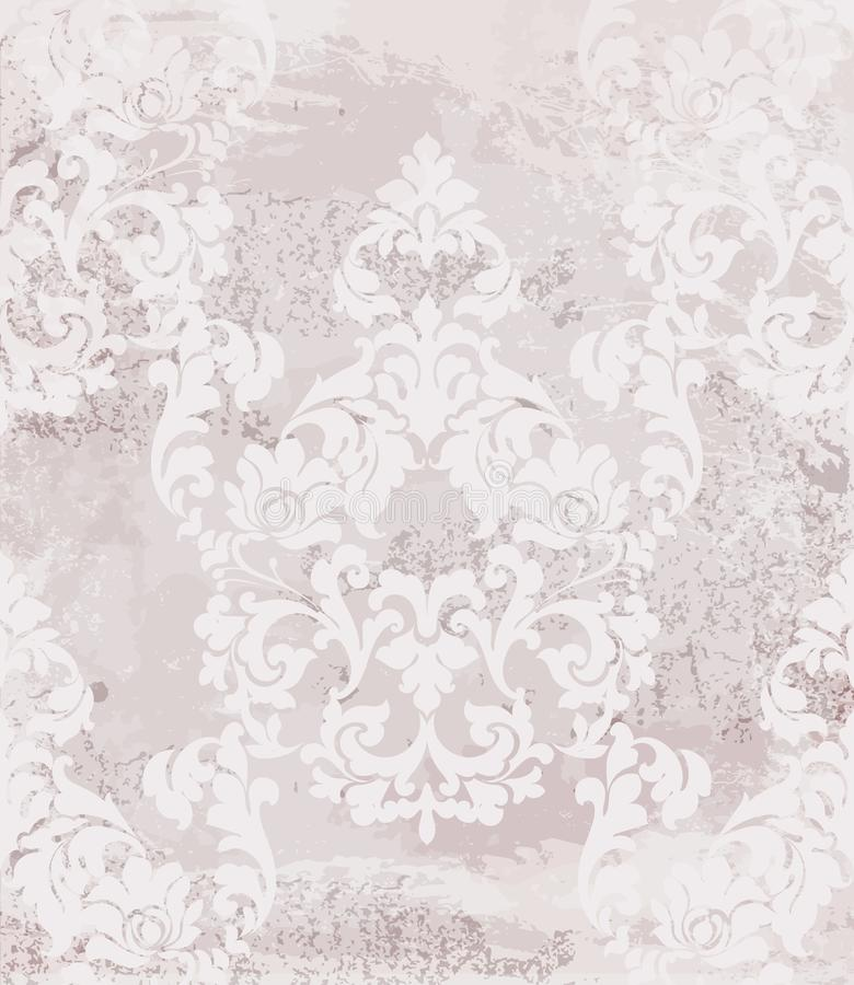 Vintage baroque card background Vector. Luxury ornament background decoration. Old ruined effects. Pink powder delicate colors. Vintage baroque card background vector illustration