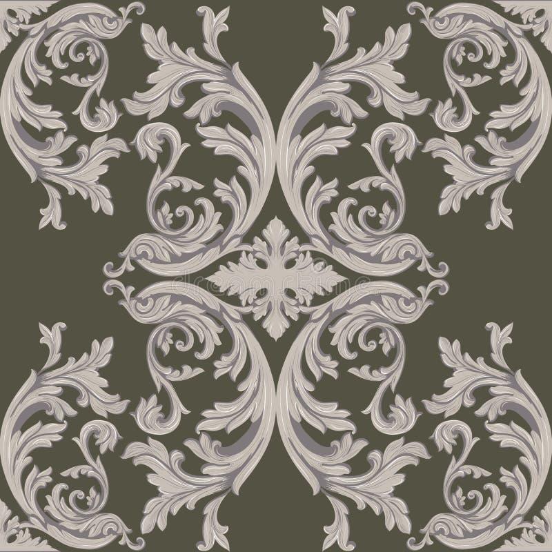 Vintage Baroque Damask Floral Pattern Acanthus Imperial
