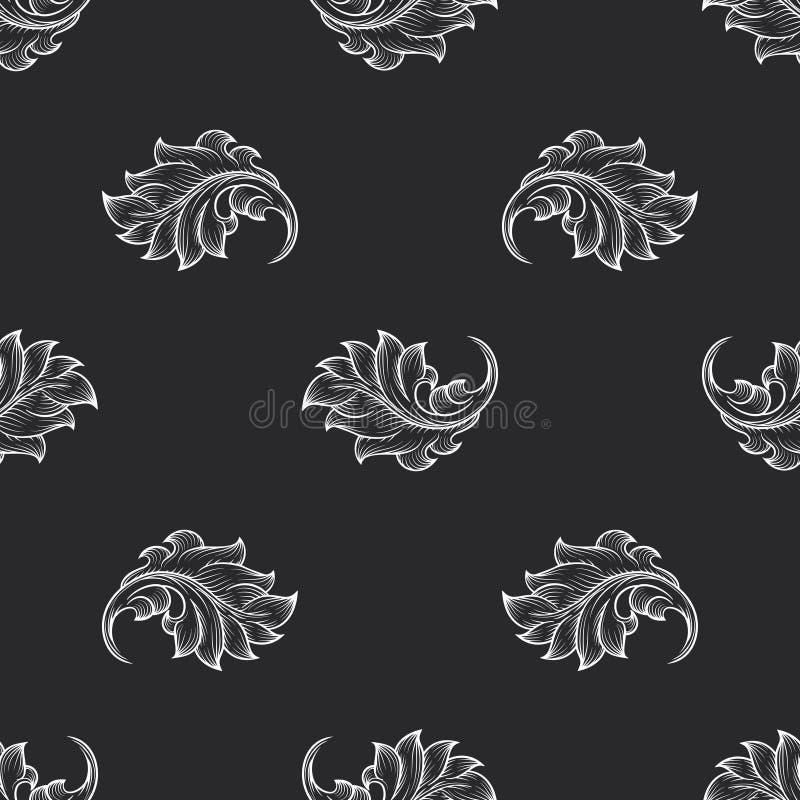 Vintage baroque engraving floral pattern. Retro decor, backdrop fabric, vector illustration royalty free illustration