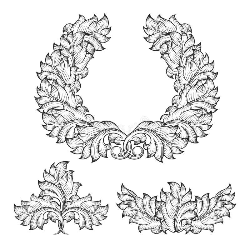 Vintage baroque floral leaf scroll ornament royalty free illustration