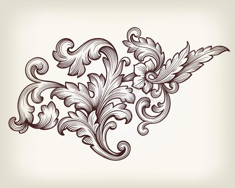Vintage baroque floral scroll ornament vector stock illustration