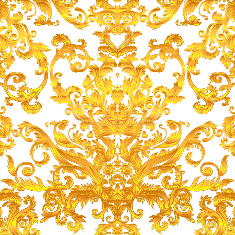 Vintage baroque floral seamless pattern in gold over white. Ornate vector decoration. Luxury, royal and Victorian concept. Golden stock illustration