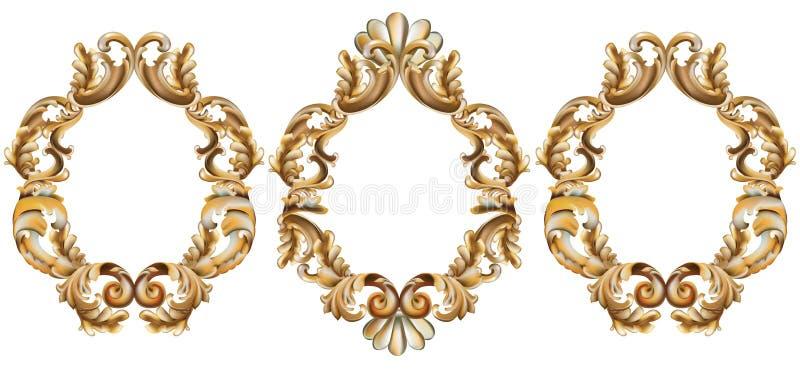 Vintage baroque frame decor. Detailed 3d realistic ornament vector illustration stock illustration