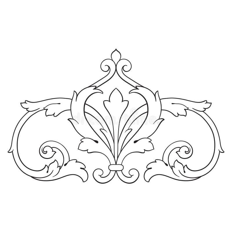 Vintage baroque frame engraving scroll ornament royalty free illustration