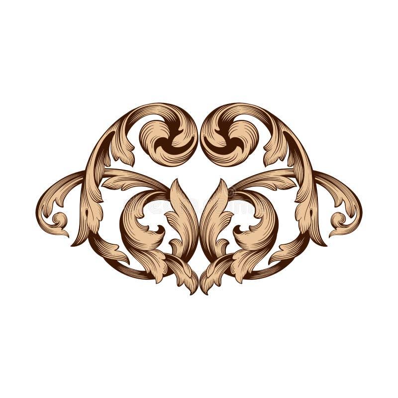 Vintage baroque frame engraving scroll ornament. Vintage baroque element ornament. Retro pattern antique style acanthus. Decorative design element filigree royalty free illustration