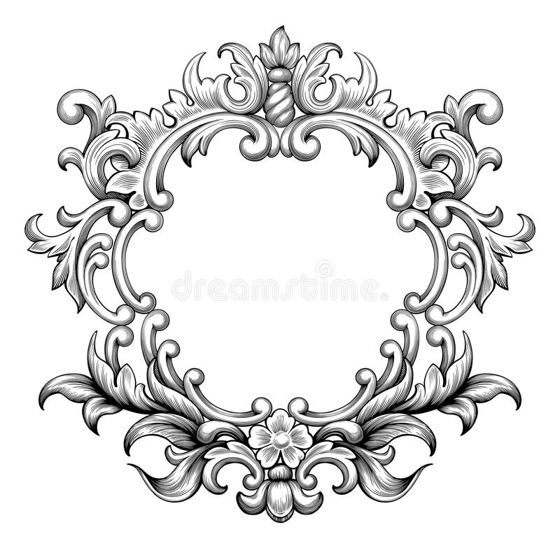 Free Vintage Baroque Frame Engraving Scroll Ornament Vector Royalty Free Stock Photo - 59947765