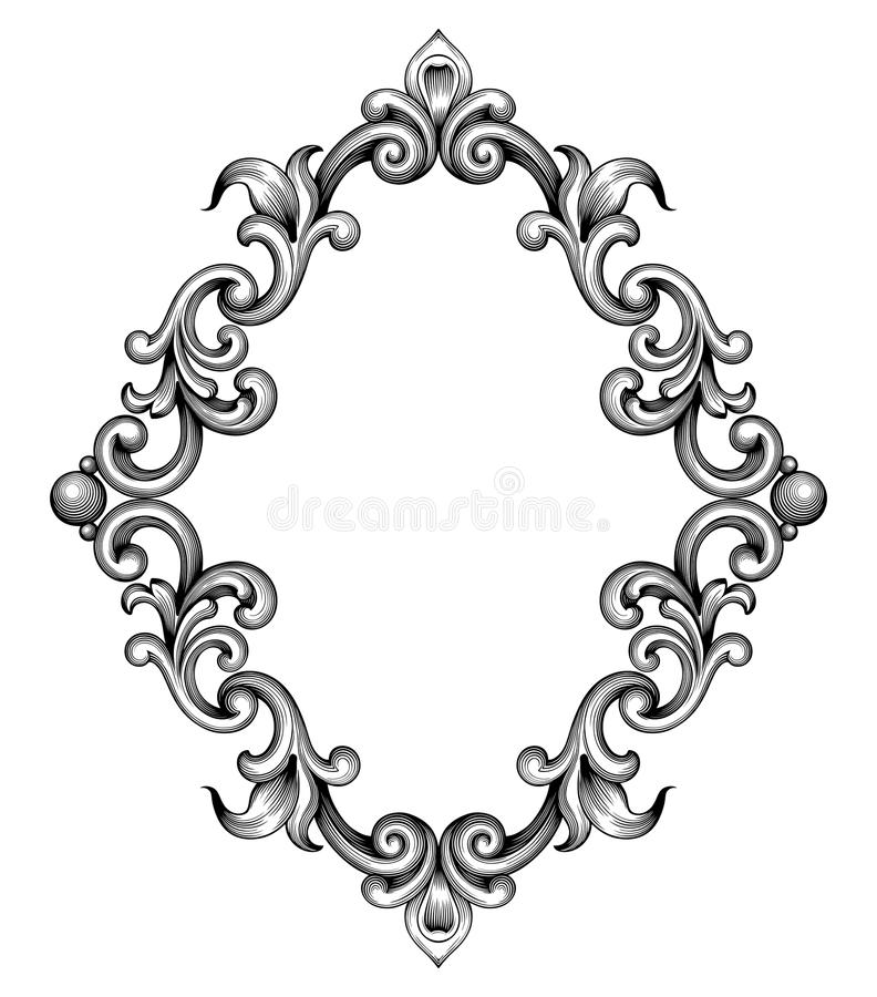 Vintage baroque frame engraving scroll ornament vector. Vintage baroque frame leaf scroll floral ornament engraving border retro pattern antique style swirl royalty free illustration