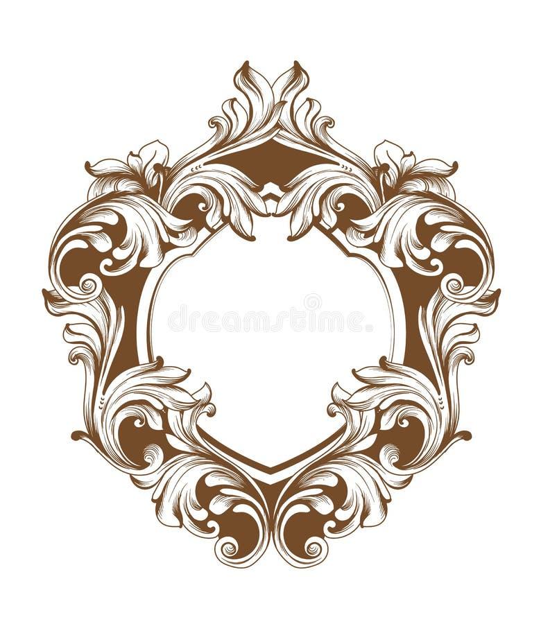 Vintage baroque frame heart shape card Vector. Detailed rich ornament illustration graphic line arts. Vintage baroque frame heart shape card Vector. Detailed stock illustration