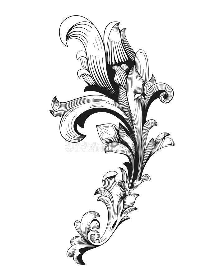 Vintage baroque frame scroll ornament engraving border floral retro pattern antique style acanthus foliage swirl decorative stock illustration