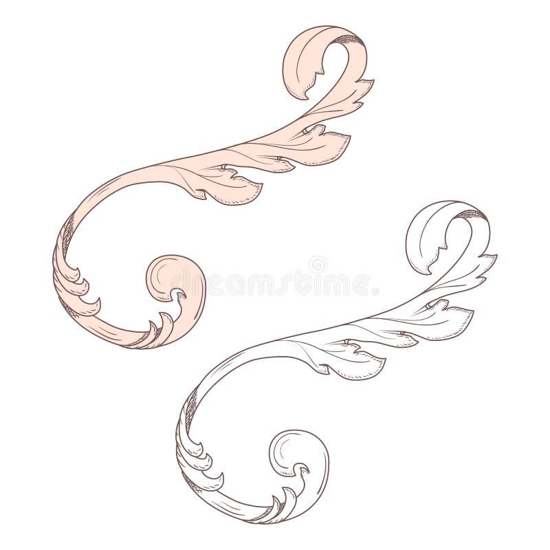 Vintage baroque frame scroll ornament engraving border floral retro pattern antique style acanthus foliage swirl decorative design. Element filigree calligraphy stock illustration