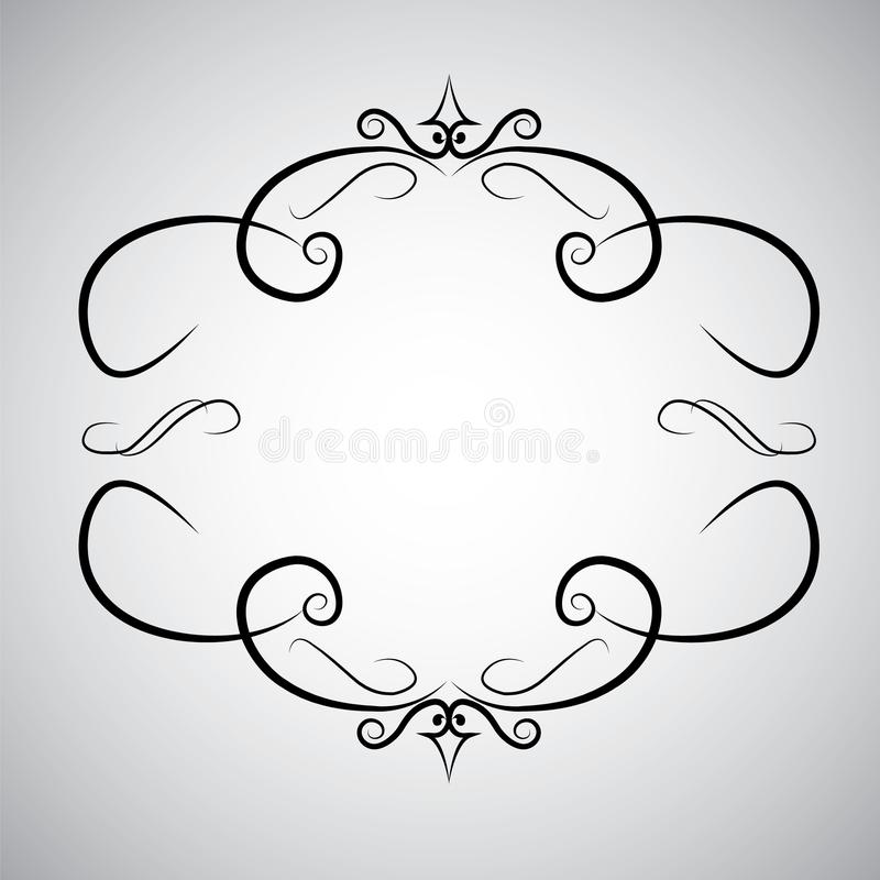 Vintage baroque frame scroll ornament engraving border floral retro pattern antique style acanthus foliage swirl royalty free illustration