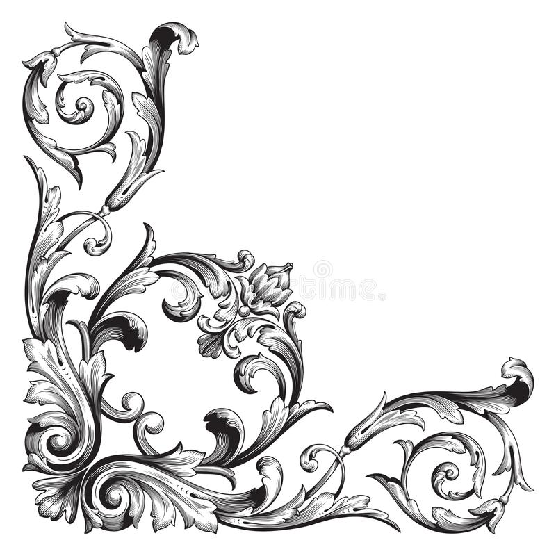 Vector baroque ornament in victorian style royalty free illustration