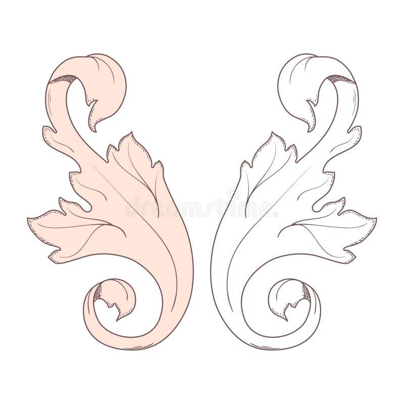 Vintage baroque frame scroll ornament engraving border floral retro pattern antique style acanthus foliage swirl. Decorative design element filigree calligraphy stock illustration