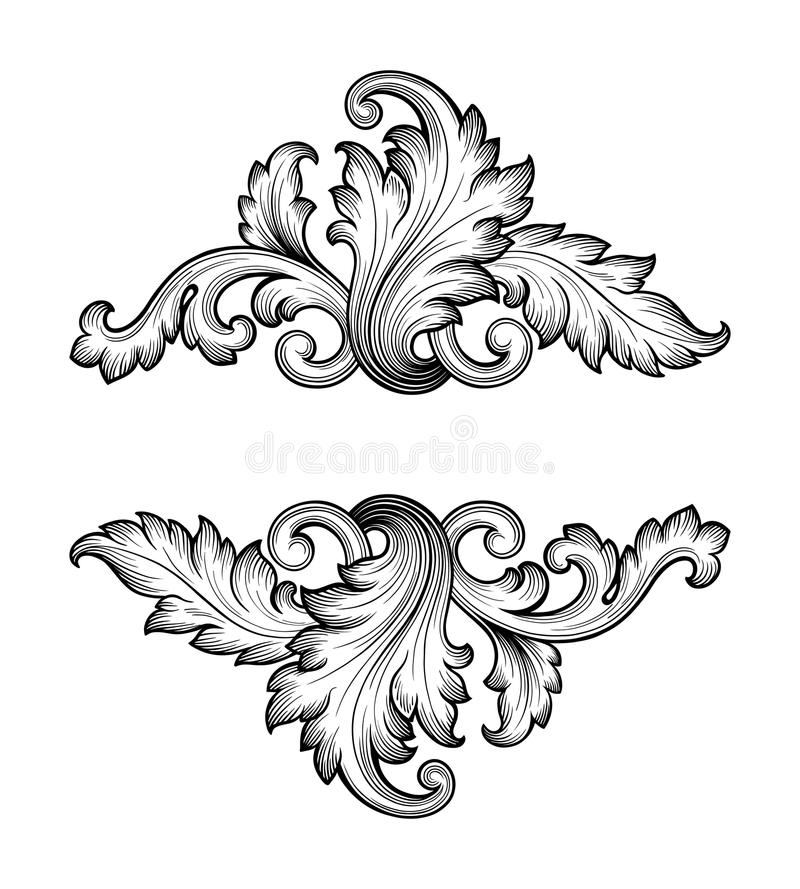 Antique Scroll Patterns: Vintage Baroque Frame Scroll Ornament Vector Stock Vector
