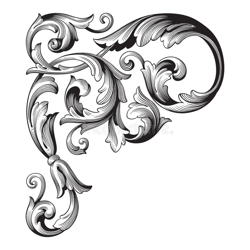 Vintage baroque ornament vector royalty free illustration