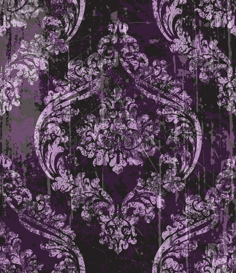 Vintage Baroque ornamented background Vector. Victorian Royal texture. Flower decorative design. Dark purple color decors. Vintage Baroque ornamented background vector illustration