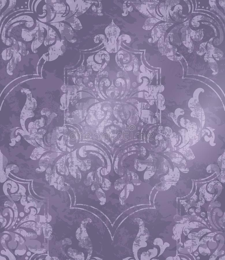 Vintage Baroque ornamented background Vector. Victorian Royal texture. Flower decorative design. Purple color decors royalty free illustration