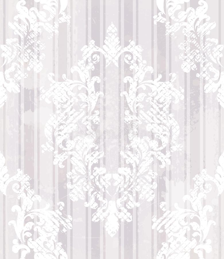 Vintage baroque pattern background Vector. Rich imperial decors on grunge texture. Royal victorian texture lilac trendy stock illustration
