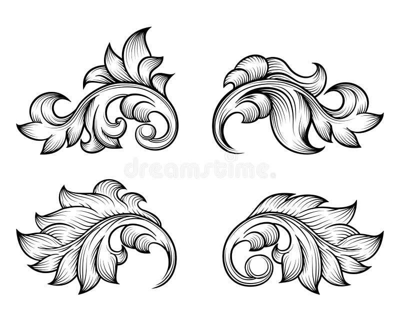 Vintage baroque scroll leaf set in engraving style vector illustration