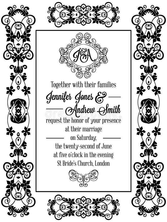 Vintage baroque style wedding invitation card stock vector download vintage baroque style wedding invitation card stock vector illustration of frame decoration stopboris Choice Image