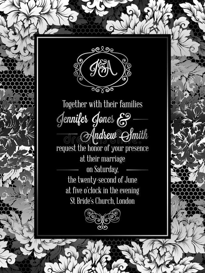 Vintage baroque style wedding invitation card template. Elegant formal design with damask background, traditional decoration for wedding royalty free illustration